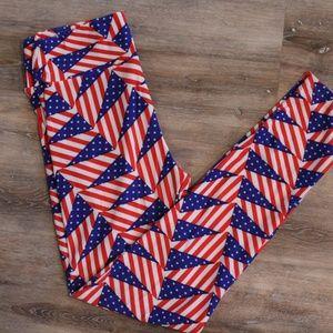 LuLaRoe Stars and Stripes Triangle Leggings
